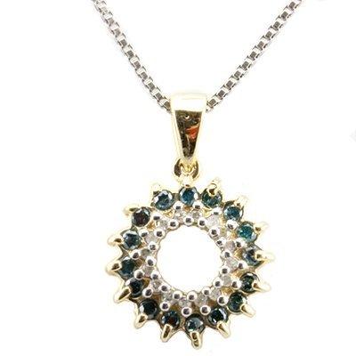 8: Blue & white Diamond solid Gold Pendant