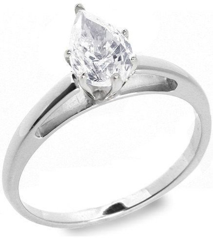 13: 1.01 ctw E/VS2 Pear diamond solitire ring