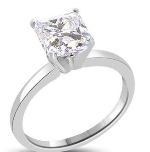 15: Princess Diamond Solitaire Gold Ring 1.61 ct---E /