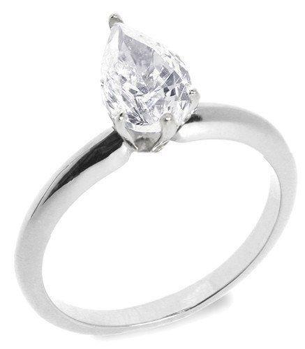 18: 1.00 ctw G/VS2 Pear diamond solitire ring