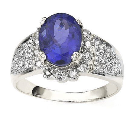 Diamond & Tanzanite solid gold ring