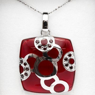 3/4 Ct Persian Red Garnet & Murono Glass Pendant