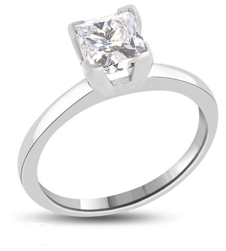 Princess Diamond 1 ct..F / VS2. Solid Gold ring