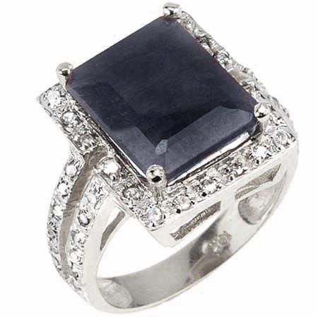 Diamond & 7.95 ct Genuine Black Sapphire Ring