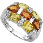 Genuine Sapphire 4 ct  Diamond 080 ct Solid Gold Ring