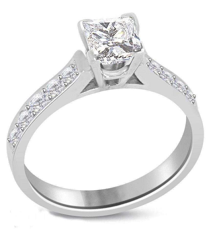 Princess Diamond 1.03 ct E/SI1 Solid Gold Ring