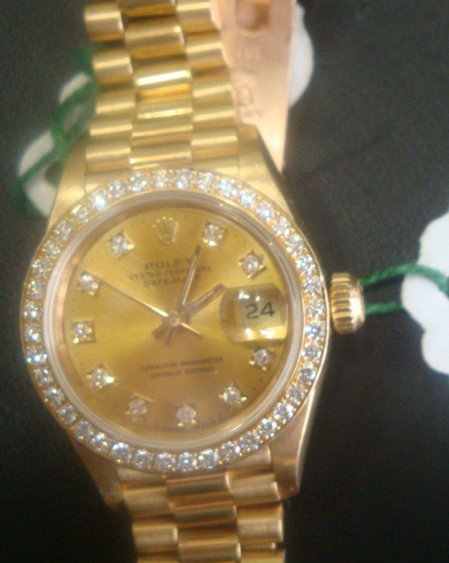 Authentic Rolex Watch - Diamonds & 18k Solid Gold