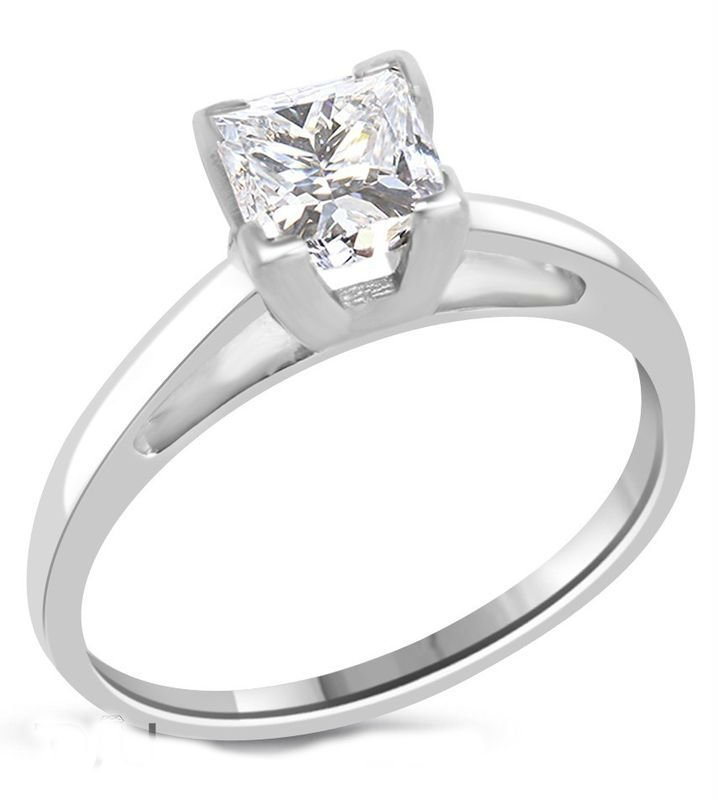 Princess Diamond 1 ct E/VS2 Solid Gold Ring