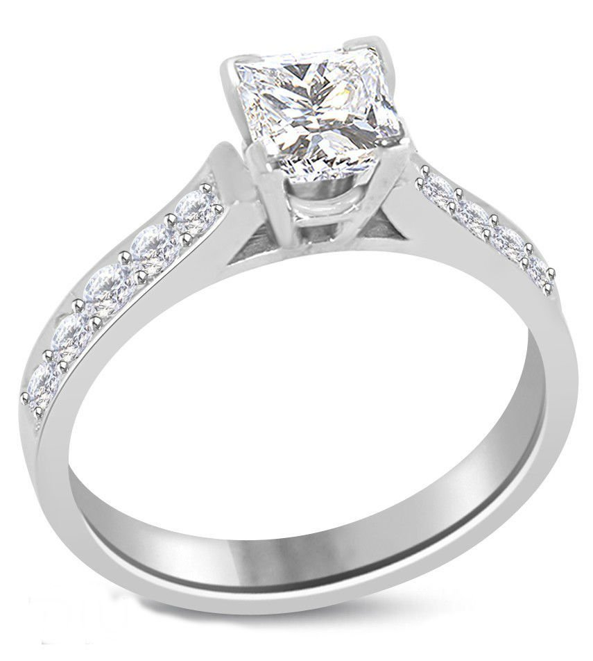 Princess Diamond 1.03 ct E/SI1 Solid Gold Ring