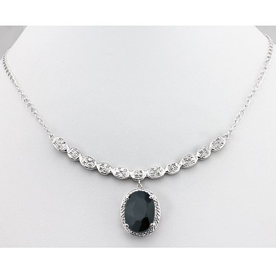 Stunning Diamond & Black Sapphire Necklace