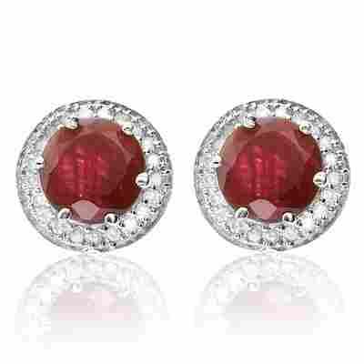 Stunning 2.38 ct African Ruby & Diamond Ear Rings