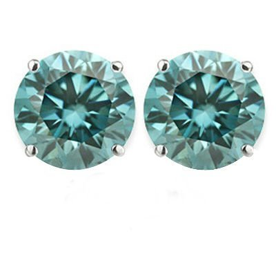 Blue Diamond 2.56 ct & Solid Gold Ear Studs