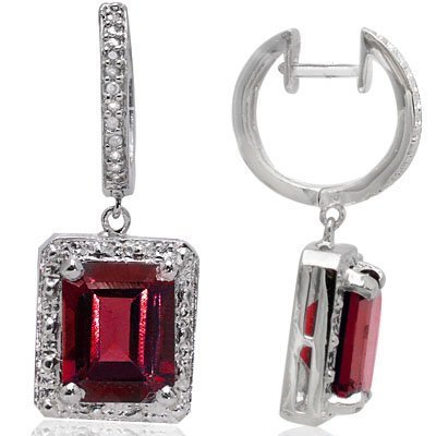 Persian Red Garnet & Diamond Ear Ring