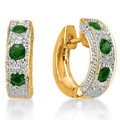 Genuine Emerald & Diamond Ear Ring