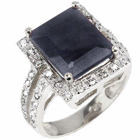 Diamond & 7.95 ct Genuine Black Sapphire Ring