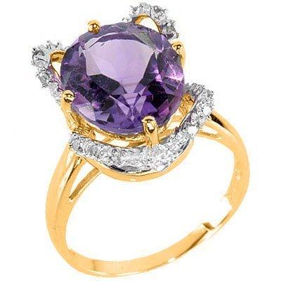 Floral Lavender Amethest & Diamond Ring