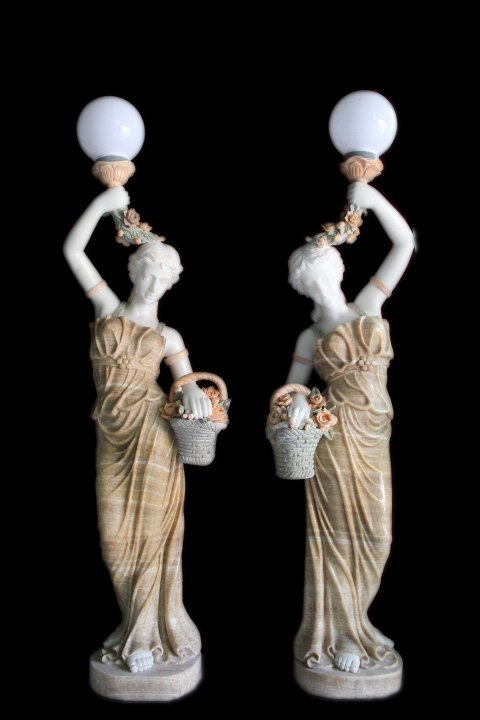 Hand Carved Marble Ladies Pair