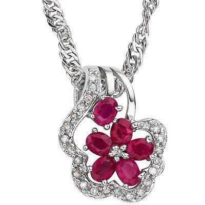 Genuine Ruby 1.50 ct & Diamond Pendant