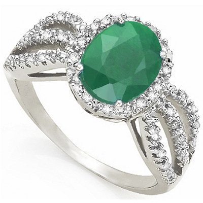 Emerald & Diamond solid white gold ring