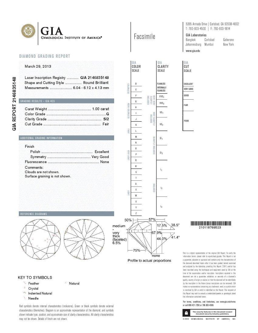Diamond 1.00 ct SI2/G - GIA