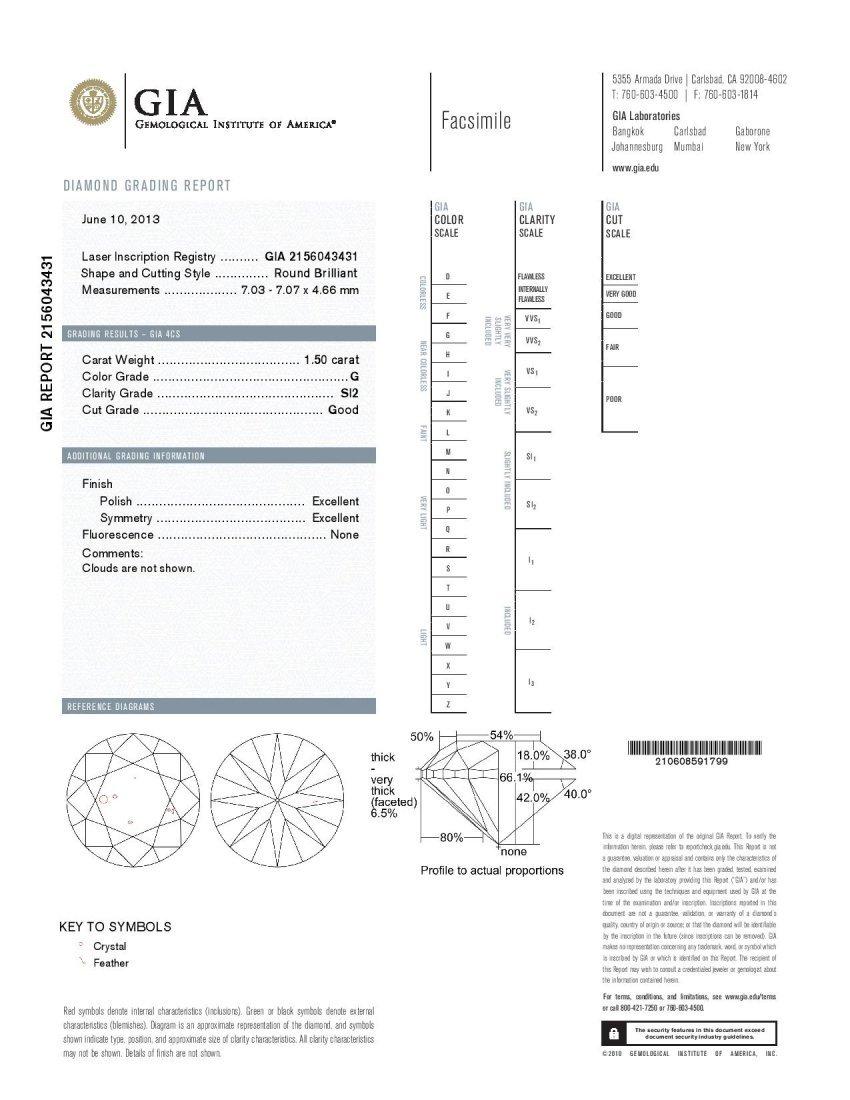 Diamond 1.50 ct - SI2/G - GIA