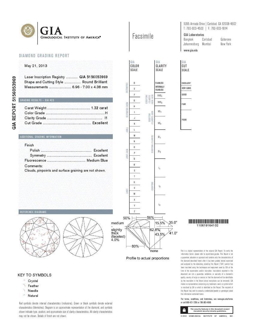 Diamond 1.32 ct - I1/H - GIA