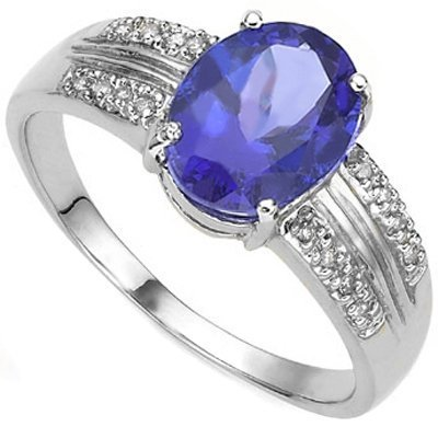 2.00 Ct Genuine Tanzanite & Diamond Solid Gold Ring