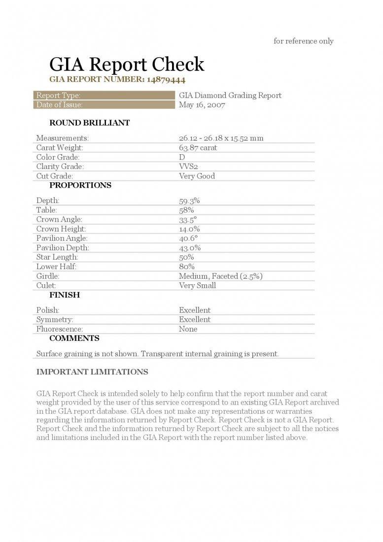 Diamond 63.87 ct -D/VVS2 - GIA