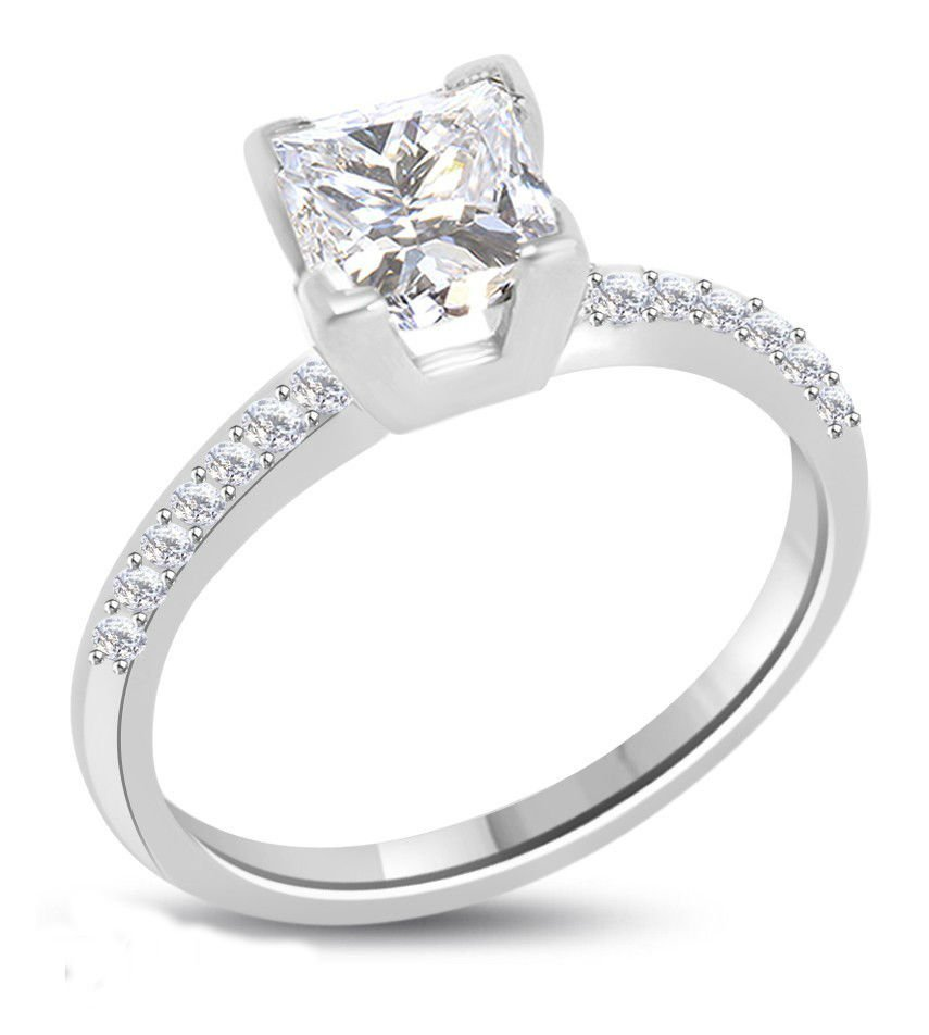 Princess Diamond 1.11 ct F/VS2 Solid Gold Ring
