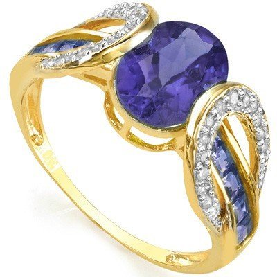 Tanzanite & Diamond Solid Gold Ring