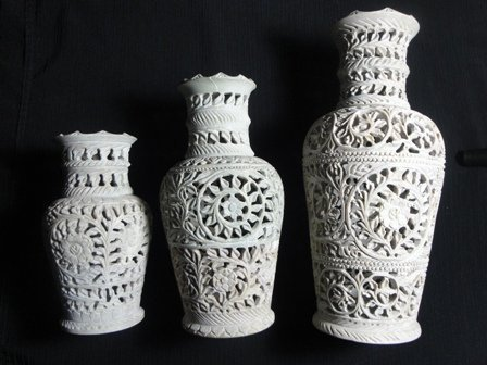 Vase - hand carved soap stone art work