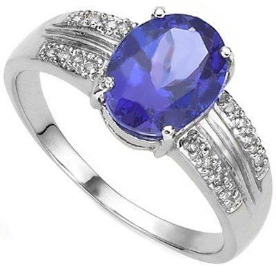 2.00 Ct Genuine Tanzanite & Diamond Solid Gold Ring