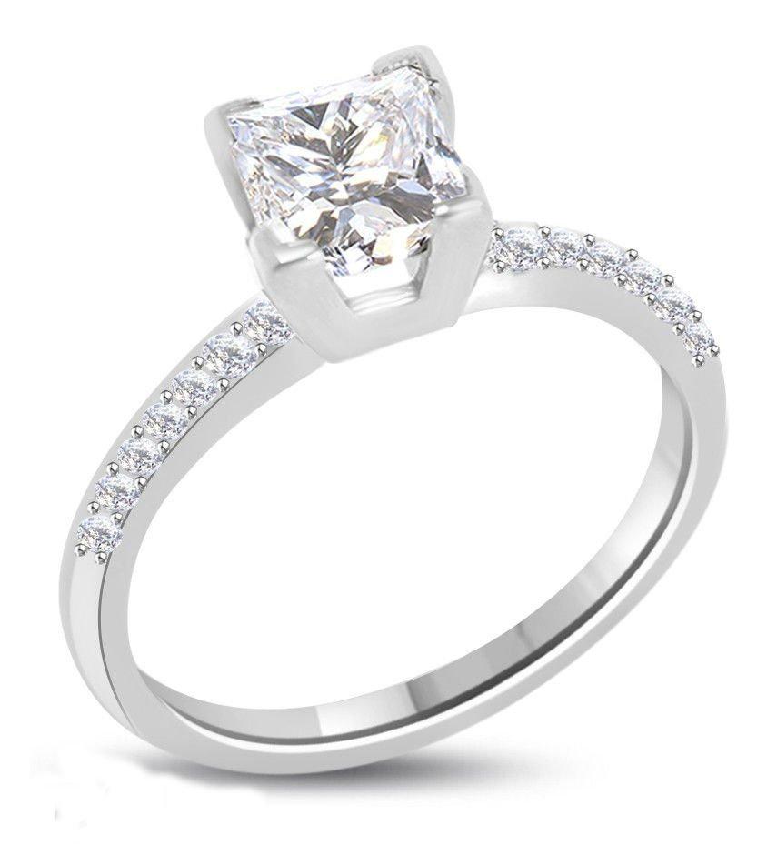 Princess Diamond 1.11 ct F/VS2 Solid Gold Ring
