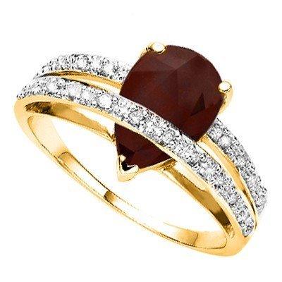 Mesmerizing Genuine Ruby & Diamond Solid Gold Ring