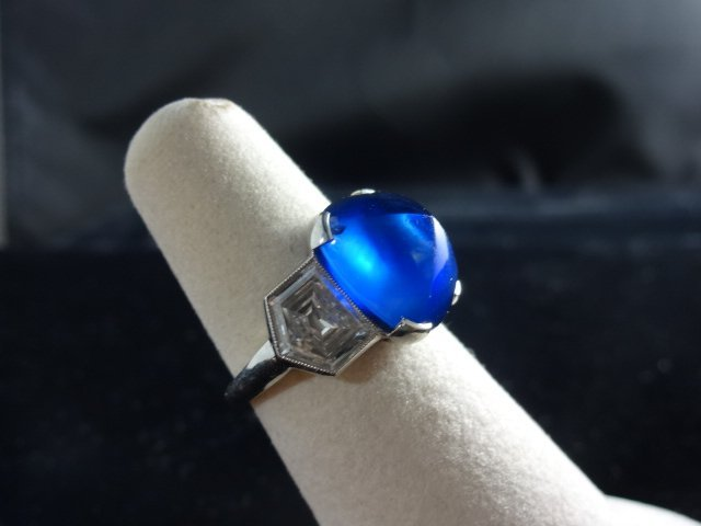 Antique Burma Sapphire 11 ct & Diamond Ring - Gubelin