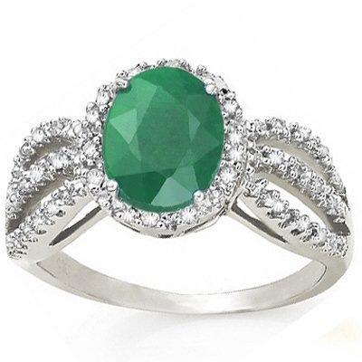 Emerald & Diamond solid white gold ring - 2