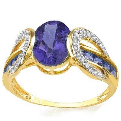 Tanzanite & Diamond Solid Gold Ring - 2