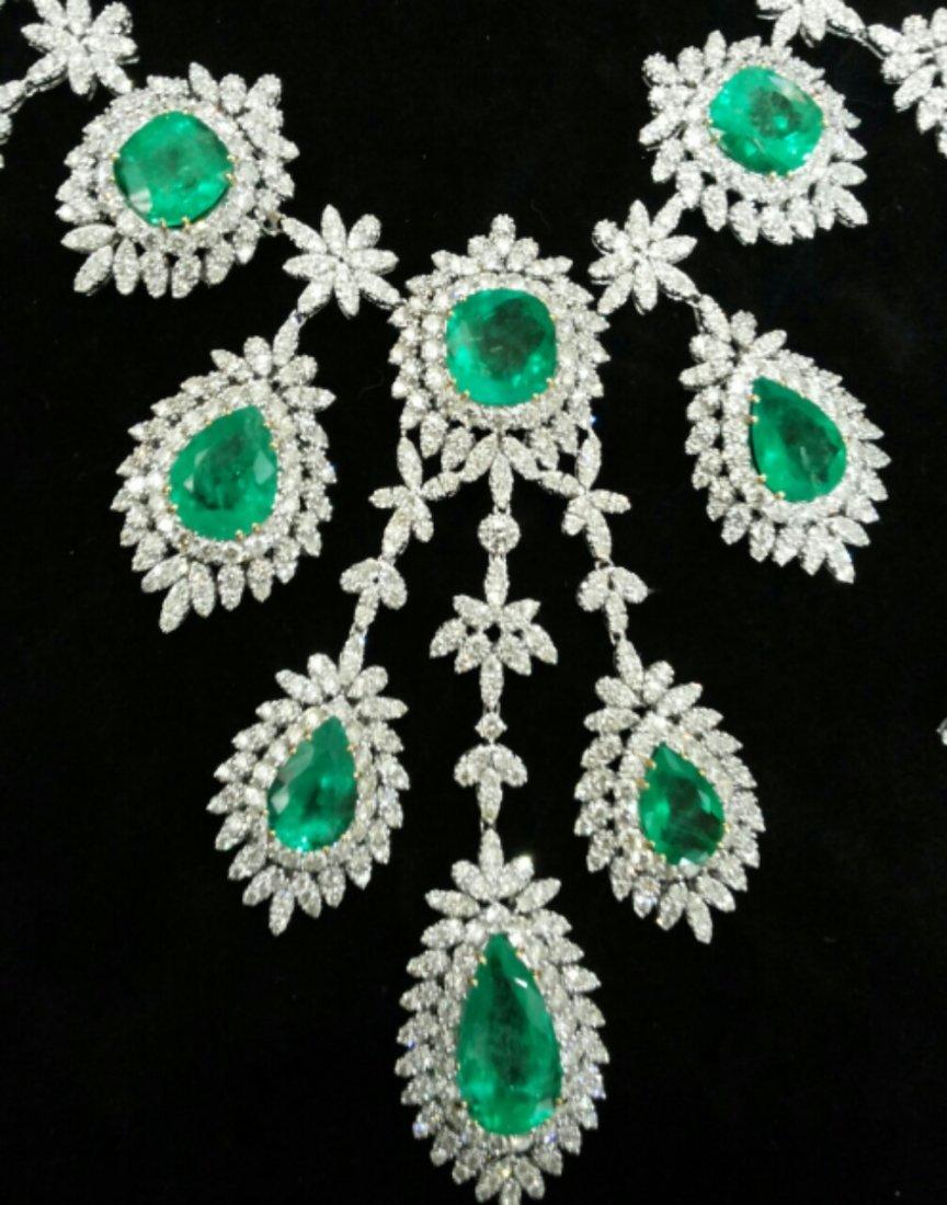 Diamond 25 ct & Columbian Emerald 65 ct Gold Necklace