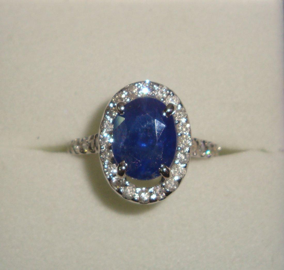 Ceylon Sapphire 3.75 ct & Diamond Ring