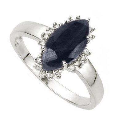 Diamond & Black Sapphire Ring