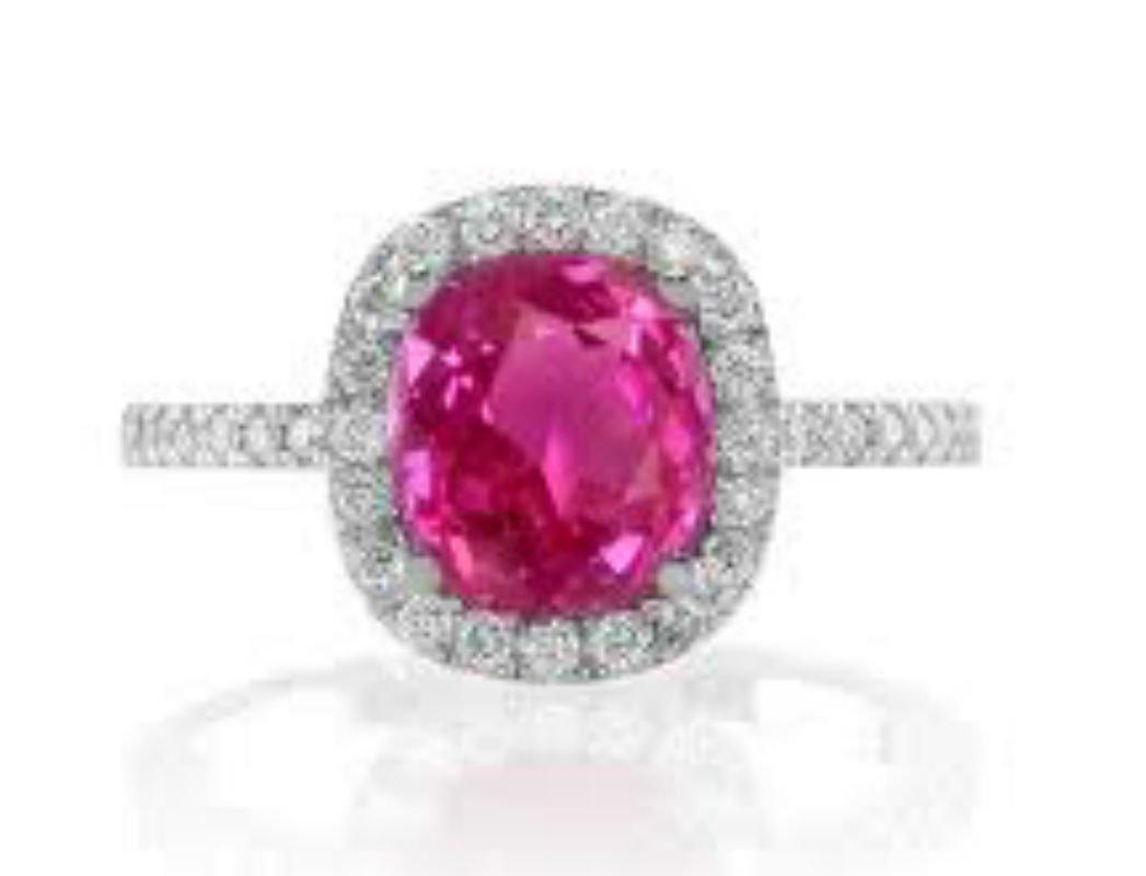 Pink Sapphire 2.5 ct & Diamond Ring