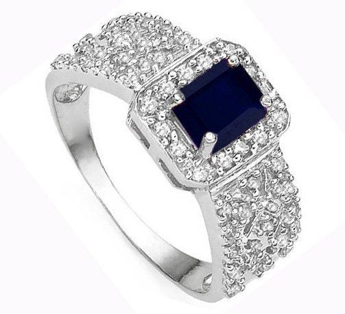 Genuine Black Sapphire & Diamond Ring