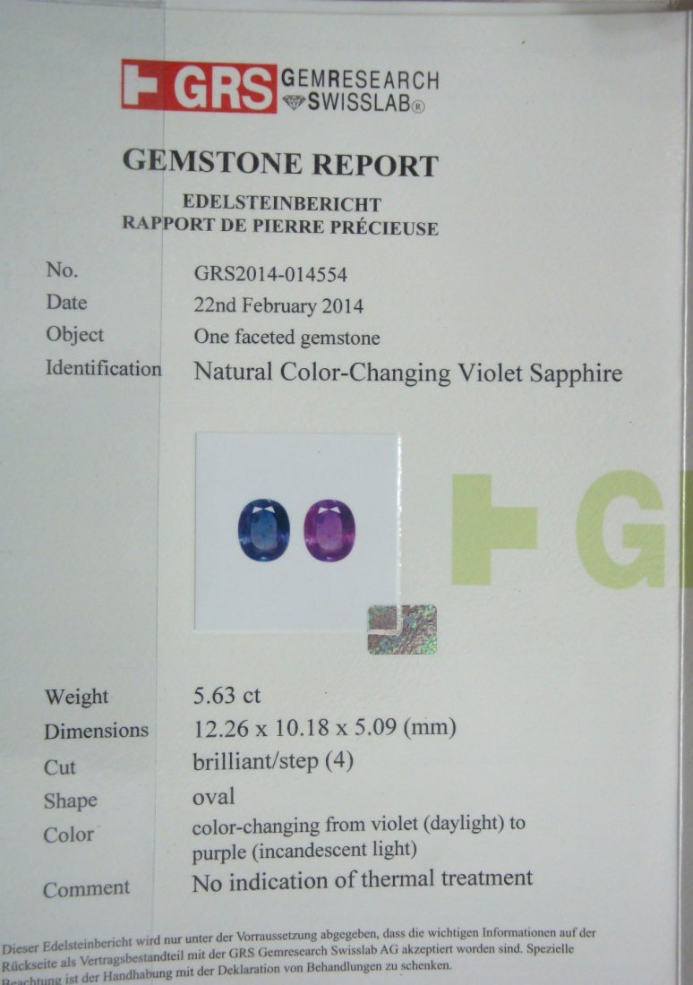 Natural Color Changing Kashmir Sapphire 5.63 ct - GRS