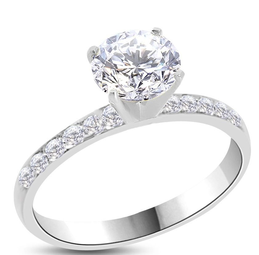 Natural Diamond 1.07 ct E-SI1 Gold Engagement Ring
