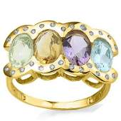 Multi Gemstone  Diamond Ring