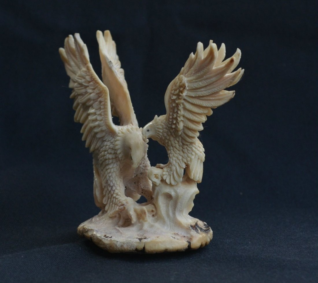 Hand carved mamma Eagle & baby Eagle Carving - 6