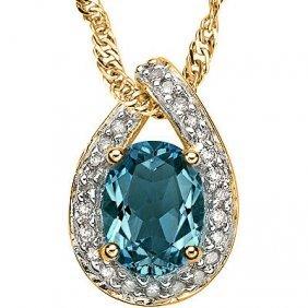 Stunning London Blue Topaz & Diamond Solid Gold Pendant