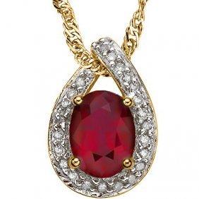 Genuine Ruby & Diamond Pendant