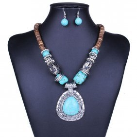 Tibet Silver & Blue Turquoise Necklace Set