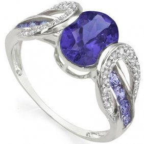 Natural Tanzanite & Diamond Solid Gold Ring